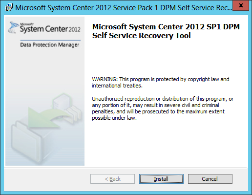 Install DPM Self Service Recovery 03