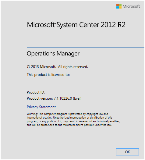 SCOM2012R2 Help-About