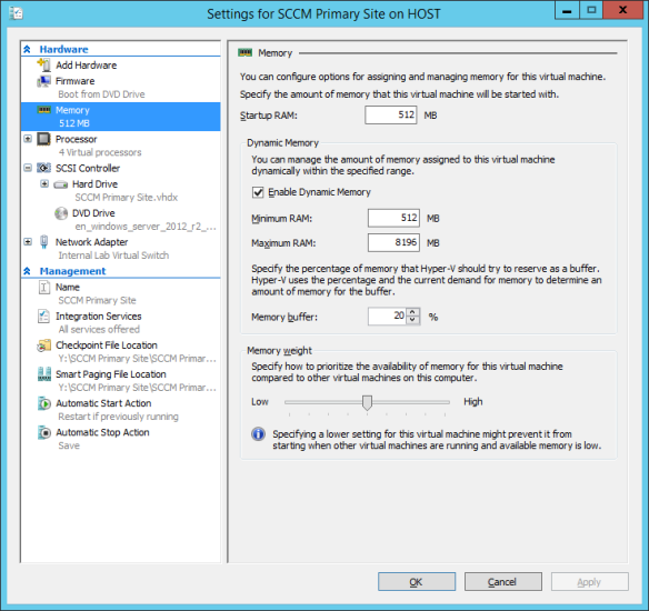 Windows Server 2012 R2 - Hyper-V Memory Settings