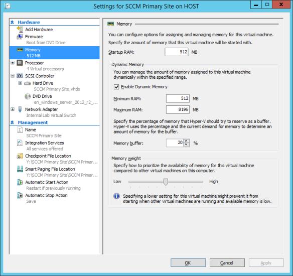 Windows Server 2012 R2 - Hyper-V Memory Settings