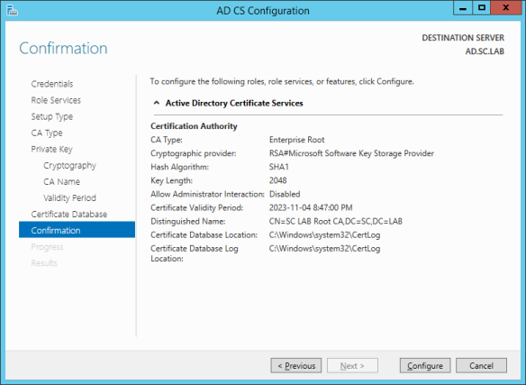AD CS Configuration 10