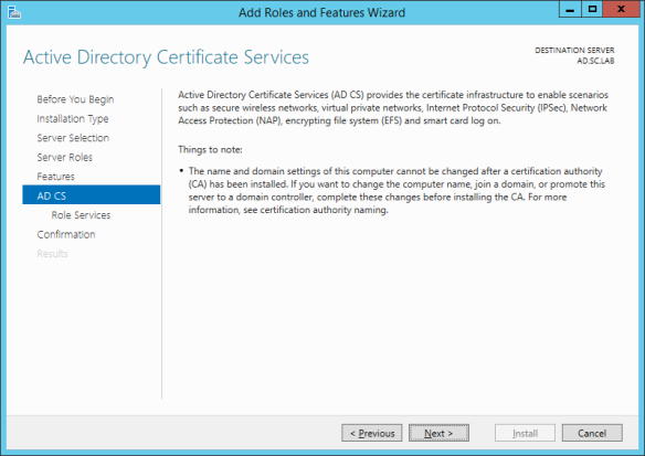 server-manager-add-role Active Directory Certificate Services - Installation