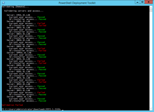 PDTInstallerScript-ServersAndAccessValidationFailed