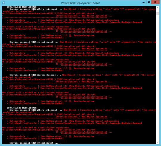PDTInstallerScript-ServiceAccountValidationFailed