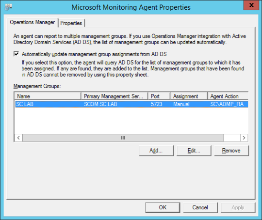 Control Panel - Microsoft Monitoring Agent Properties