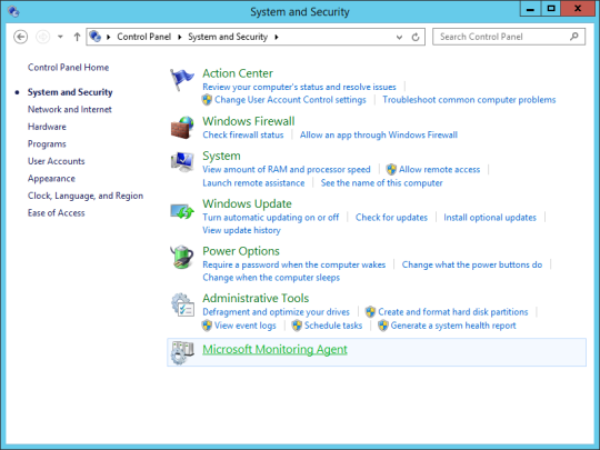 Control Panel - Microsoft Monitoring Agent