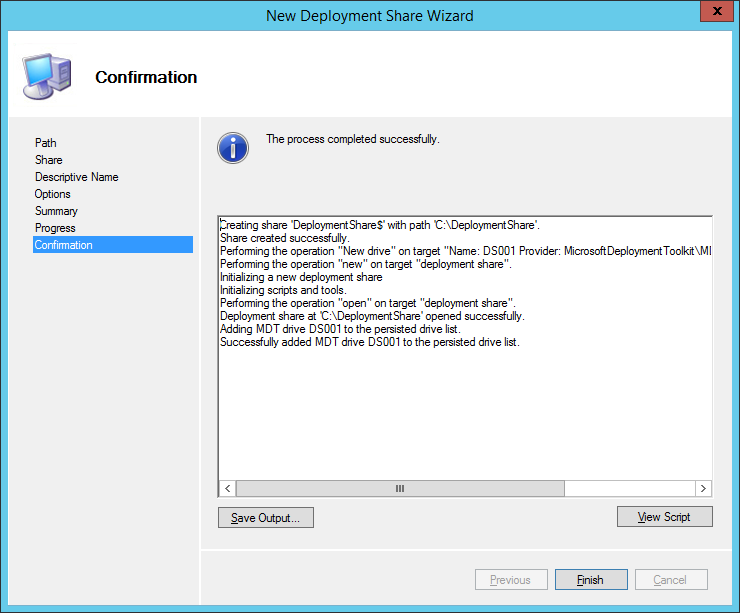 New Deployment Share Wizard Options