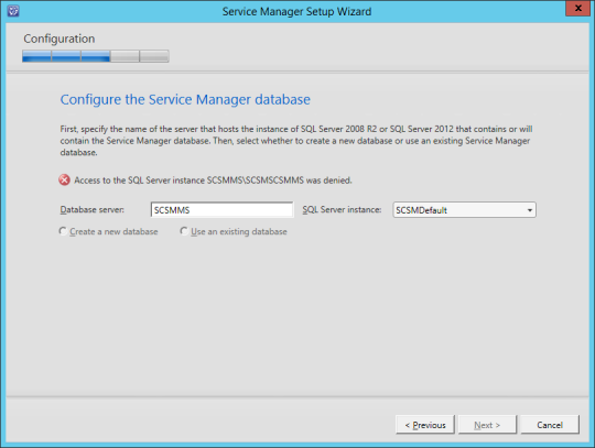 SCSM-MS Configure Service Manager Database Error 01