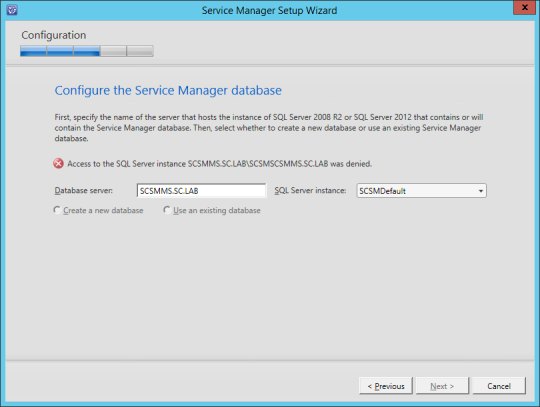 SCSM-MS Configure Service Manager Database Error 02