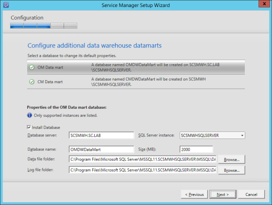 SCSM-WH Configure Data Warehouse Datamarts