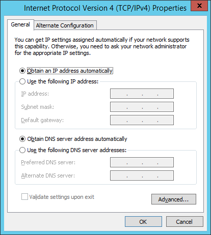 Control Panel - Network And Sharing Center - Ethernet IPv4 Properties