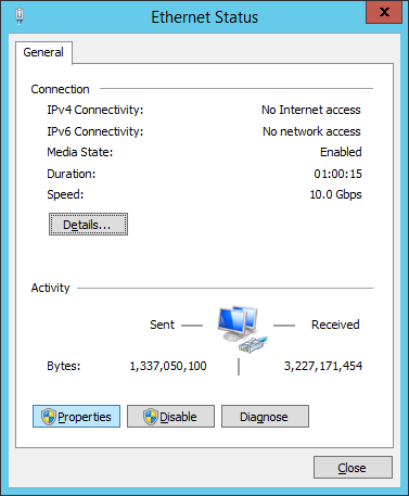 Control Panel - Network And Sharing Center - Ethernet Status