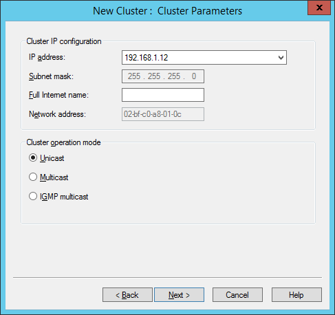 New Cluster - Cluster Parameters