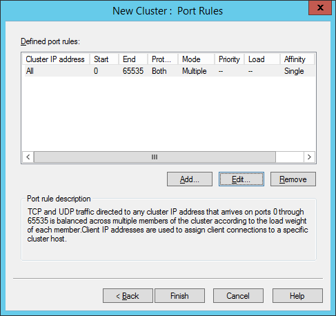 New Cluster - Port Rules