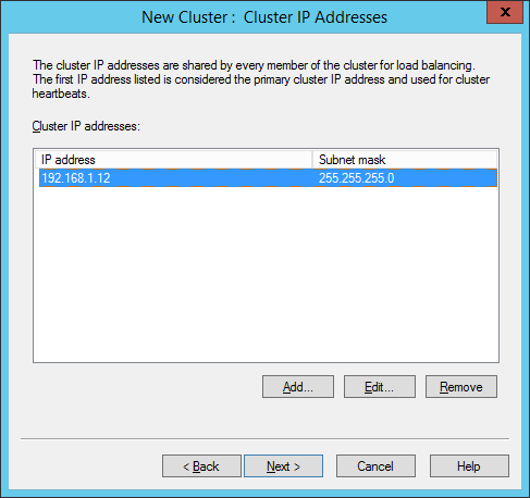 NLB Manager - New Cluster - Cluster IP Addresses (Completed)