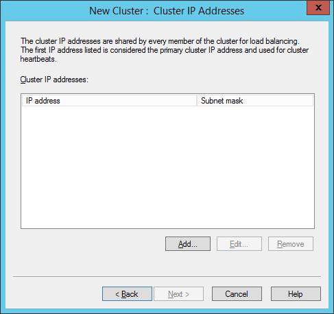 NLB Manager - New Cluster - Cluster IP Addresses