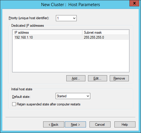 NLB Manager - New Cluster - Host Parameters