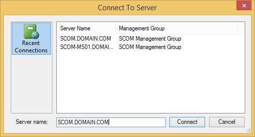 SCOM Console - Connect To Server