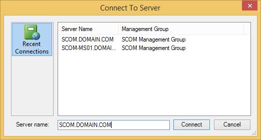 SCOM Console - Connect To Server