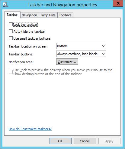 W2K12R2 - Taskbar Properties 01