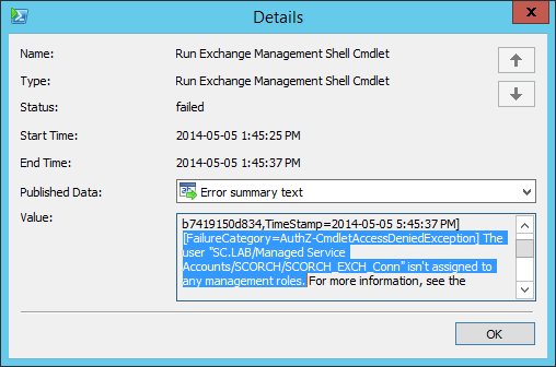 Access Is Denied Error With Orchestrator Exchange Admin