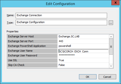 Exchange Connection Configuration