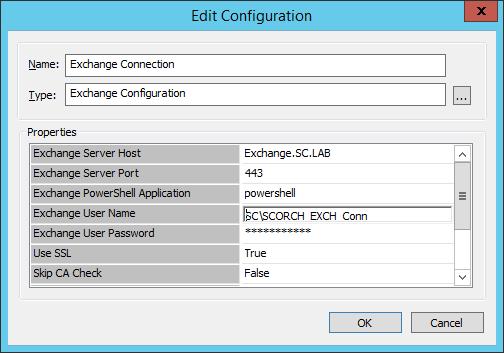 Exchange Connection Configuration
