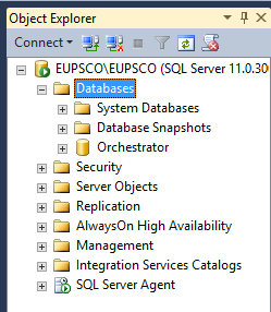 Object Explorer - Databases