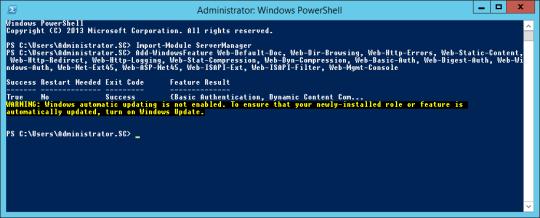 PowerShell - WebServer Installation Complete