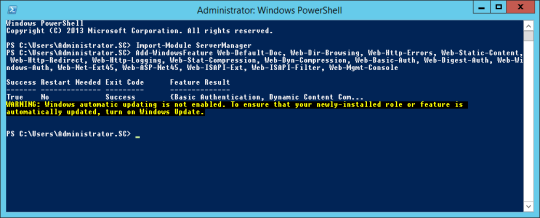 PowerShell - WebServer Installation Complete