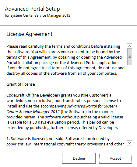 SCSM Advanced Portal - License Agreement