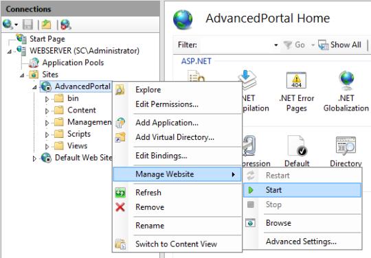 SCSM Advanced Portal - Start Website