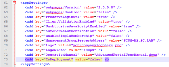 SCSM Advanced Portal - WebConfig - IsDeploymentKey