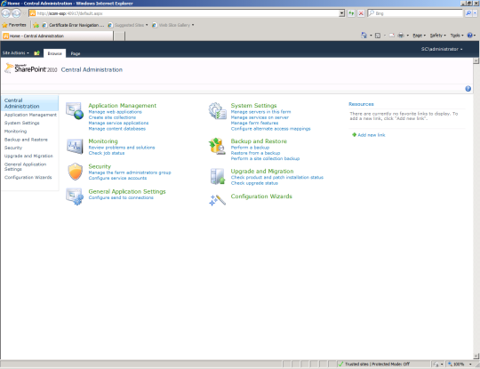 SCSM Dashboards - 01 - SharePoint Central Administration