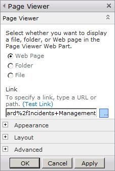 SCSM Dashboards - 11 - Page Viewer Link