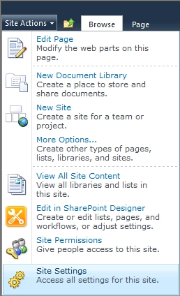 SCSM Dashboards - 13 - Site Actions - Site Settings