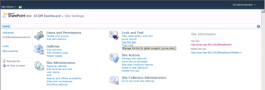 SCSM Dashboards - 14 - Site Settings - Look And Feel (Top Link Bar)