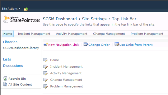 SCSM Dashboards - 15 - Site Settings - Top Link Bar - New Navigation Link