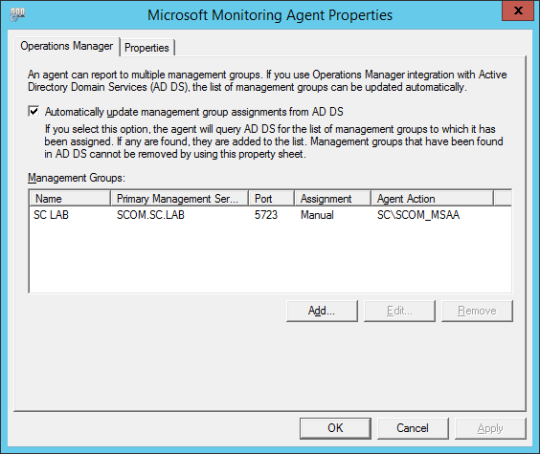 SCSM SCOM Agent Error - Microsoft Monitoring Agent Properties