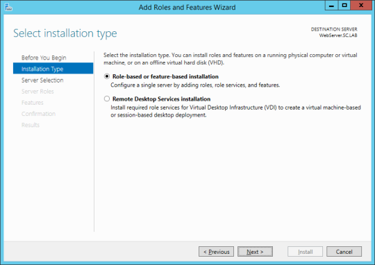 Add Roles And Features Wizard - Installation Type