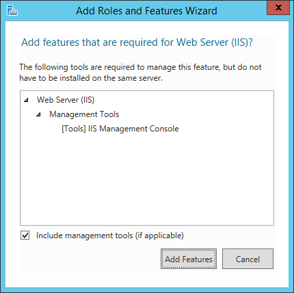 Add Roles And Features Wizard - Required Features