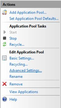 IIS Manager - Advanced Settings
