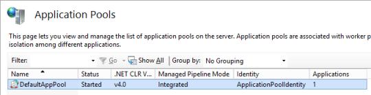 IIS Manager - Default App Pool