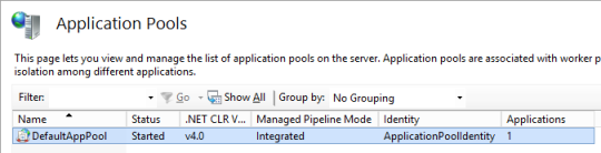 IIS Manager - Default App Pool