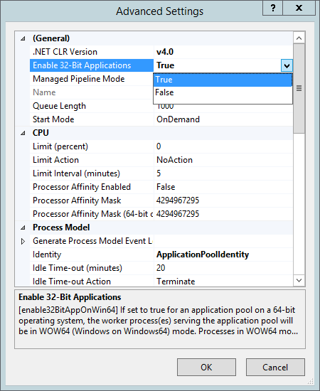 IIS Manager - Enable 32Bit Apps