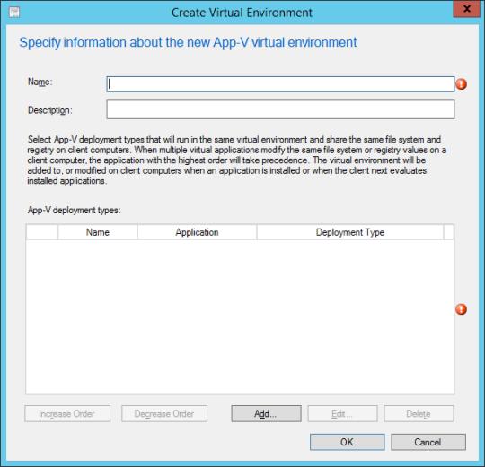 SCCM - Create Virtual Environment (Dialog)