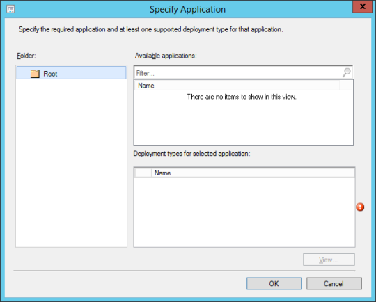 SCCM - Specify Application (Dialog)