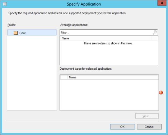 SCCM - Specify Application (Dialog)