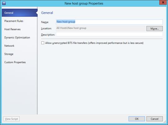SCVMM - New Host Group Properties