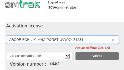 SMTrak - Settings - Activate License (Offline Mode)